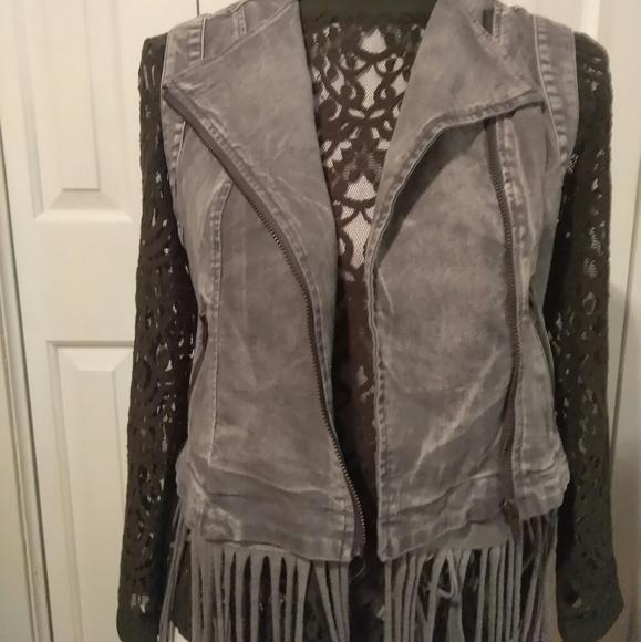 Simple Feather Boutique Jackets & Blazers - Denim Vest w/ Removable Fringes
